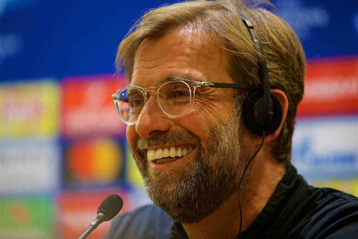 ROME, ITALY - Tuesday, May 1, 2018: Liverpool's manager Jürgen Klopp during a press conference at the Stadio Olimpico ahead of the UEFA Champions League Semi-Final 2nd Leg match between AS Roma and Liverpool FC. Liverpool lead 5-2 from the 1st Leg. (Pic by David Rawcliffe/Propaganda)