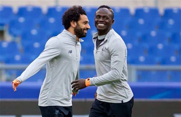 ROME, ITALY - Tuesday, May 1, 2018: Liverpool's Mohamed Salah (left) and Sadio Mane (right) during a training session at the Stadio Olimpico ahead of the UEFA Champions League Semi-Final 2nd Leg match between AS Roma and Liverpool FC. Liverpool lead 5-2 from the 1st Leg. (Pic by David Rawcliffe/Propaganda)