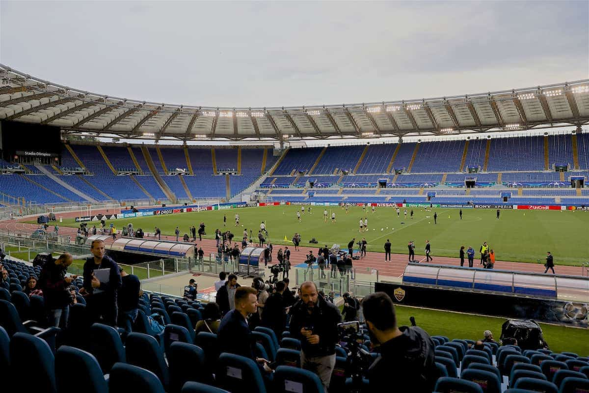 Stadio Olimpico during a Liverpool training session ahead of the UEFA Champions League Semi-Final 2nd Leg match between AS Roma and Liverpool FC. Liverpool lead 5-2 from the 1st Leg. (Pic by David Rawcliffe/Propaganda)