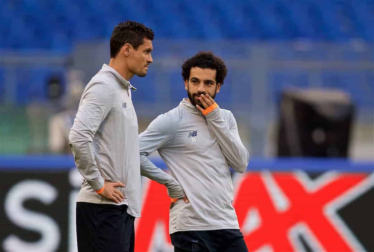 ROME, ITALY - Tuesday, May 1, 2018: Liverpool's Dejan Lovren (left) and Mohamed Salah (right) during a training session at the Stadio Olimpico ahead of the UEFA Champions League Semi-Final 2nd Leg match between AS Roma and Liverpool FC. Liverpool lead 5-2 from the 1st Leg. (Pic by David Rawcliffe/Propaganda)