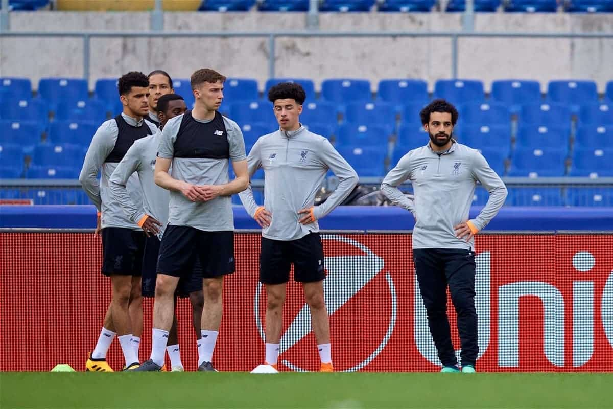 ROME, ITALY - Tuesday, May 1, 2018: Liverpool's Mohamed Salah (right) and his team-mates L-R Dominic Solanke, Conor Masterson and Curtis Jones during a training session at the Stadio Olimpico ahead of the UEFA Champions League Semi-Final 2nd Leg match between AS Roma and Liverpool FC. Liverpool lead 5-2 from the 1st Leg. (Pic by David Rawcliffe/Propaganda)
