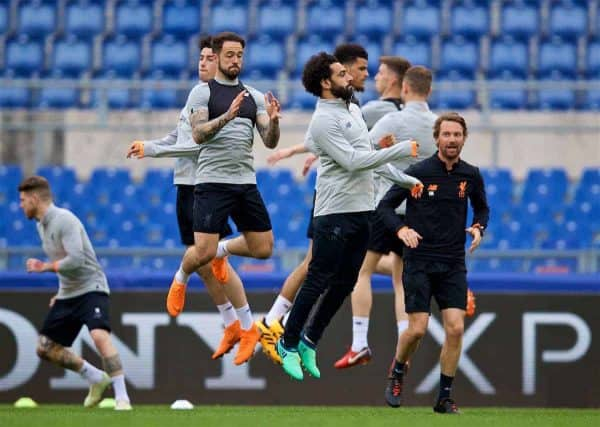 ROME, ITALY - Tuesday, May 1, 2018: Liverpool's Danny Ings (left) and Mohamed Salah (right) during a training session at the Stadio Olimpico ahead of the UEFA Champions League Semi-Final 2nd Leg match between AS Roma and Liverpool FC. Liverpool lead 5-2 from the 1st Leg. (Pic by David Rawcliffe/Propaganda)