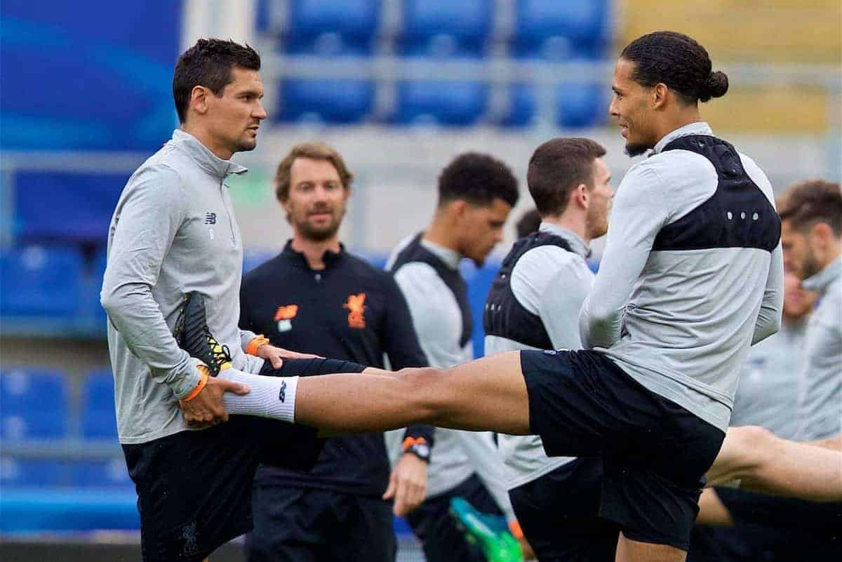 ROME, ITALY - Tuesday, May 1, 2018: Liverpool's Dejan Lovren (left) and Virgil van Dijk (right) during a training session at the Stadio Olimpico ahead of the UEFA Champions League Semi-Final 2nd Leg match between AS Roma and Liverpool FC. Liverpool lead 5-2 from the 1st Leg. (Pic by David Rawcliffe/Propaganda)