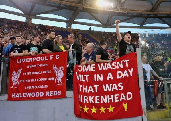 ROME, ITALY - Wednesday, May 2, 2018: Liverpool supporters before the UEFA Champions League Semi-Final 2nd Leg match between AS Roma and Liverpool FC at the Stadio Olimpico. (Pic by David Rawcliffe/Propaganda)