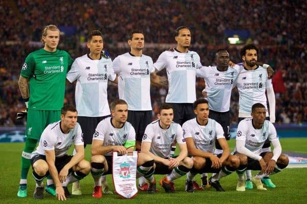 ROME, ITALY - Wednesday, May 2, 2018: Liverpool's players line-up for a team group photograph before the UEFA Champions League Semi-Final 2nd Leg match between AS Roma and Liverpool FC at the Stadio Olimpico. (Pic by David Rawcliffe/Propaganda)