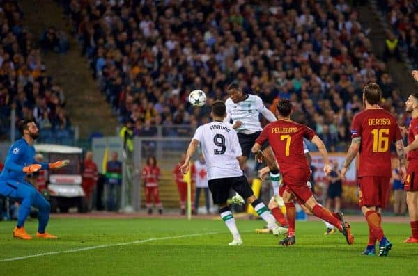 ROME, ITALY - Wednesday, May 2, 2018: Liverpool's Georginio Wijnaldum scores the second goal during the UEFA Champions League Semi-Final 2nd Leg match between AS Roma and Liverpool FC at the Stadio Olimpico. (Pic by David Rawcliffe/Propaganda)