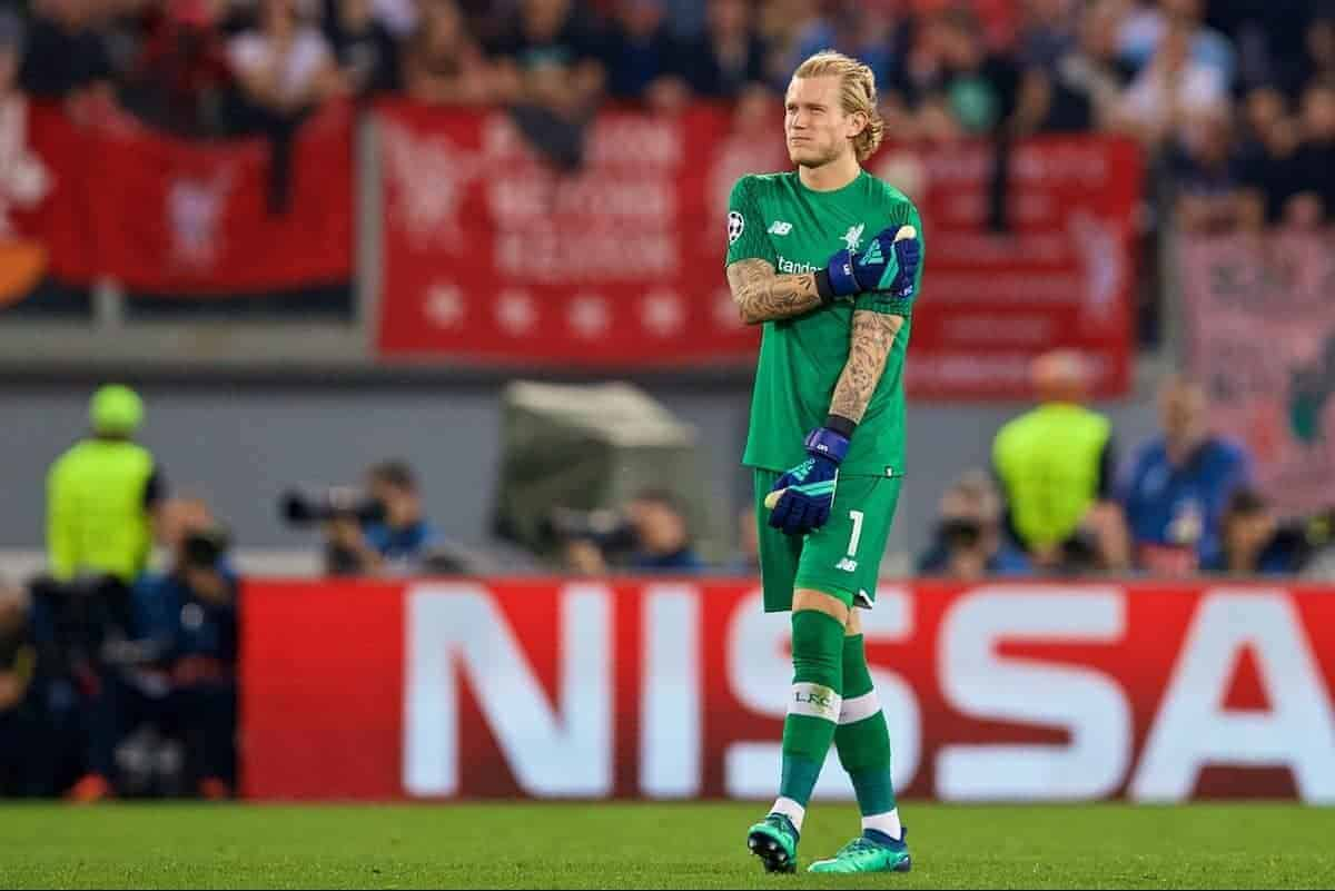 ROME, ITALY - Wednesday, May 2, 2018: Liverpool's goalkeeper Loris Karius holds his shoulder during the UEFA Champions League Semi-Final 2nd Leg match between AS Roma and Liverpool FC at the Stadio Olimpico. (Pic by David Rawcliffe/Propaganda)