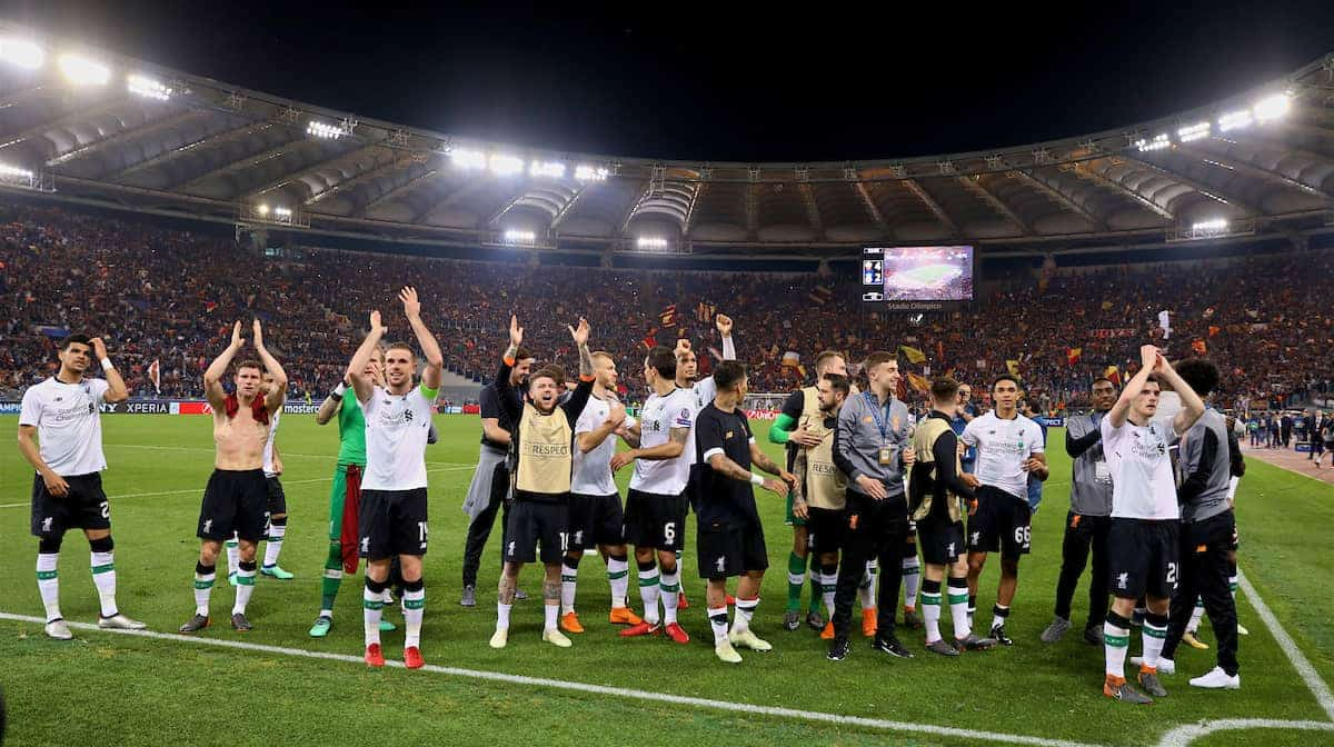 ROME, ITALY - Wednesday, May 2, 2018: Liverpool players celebrate after the 7-6 aggregate victory over AS Roma during the UEFA Champions League Semi-Final 2nd Leg match between AS Roma and Liverpool FC at the Stadio Olimpico. (Pic by David Rawcliffe/Propaganda)