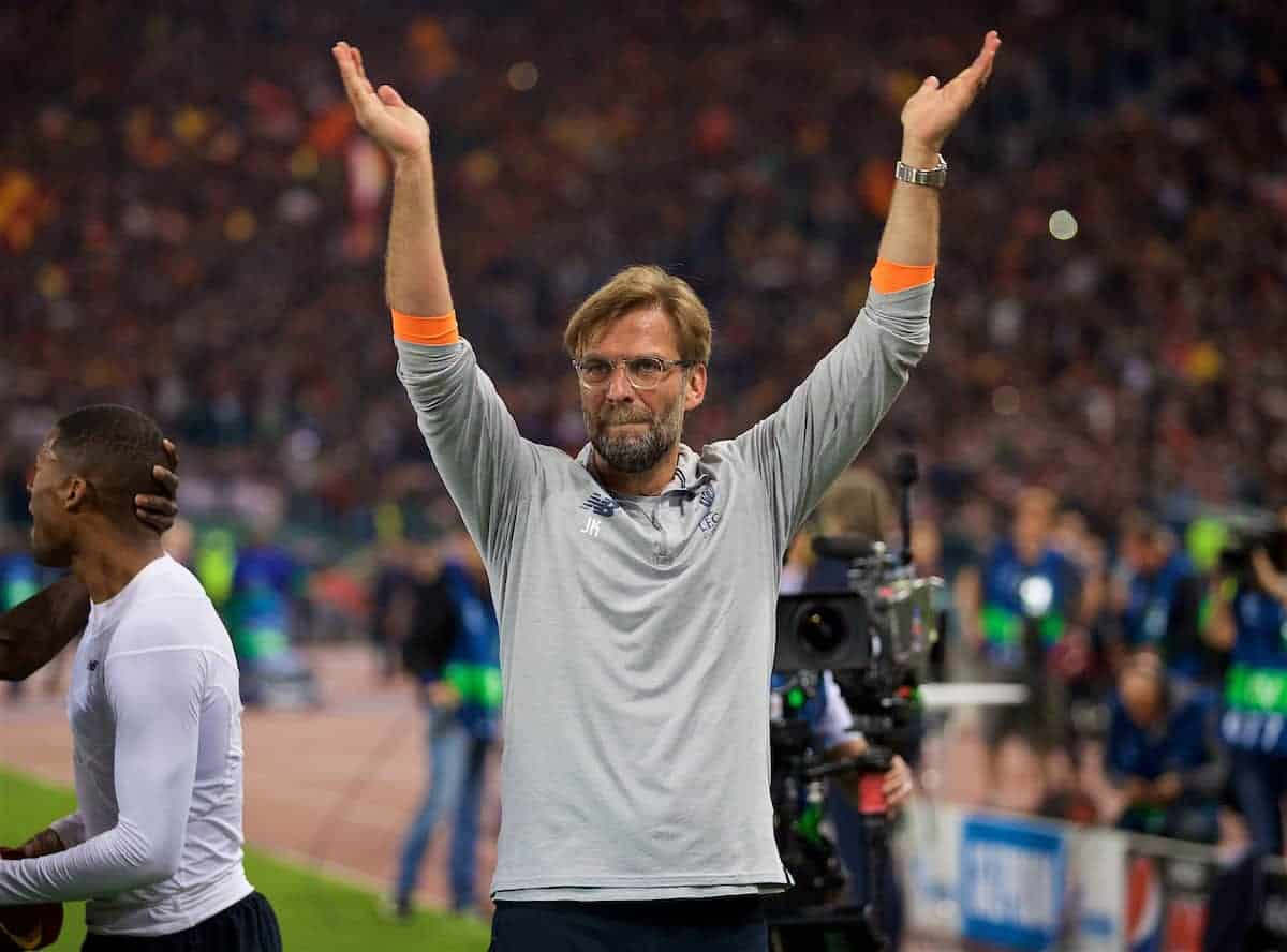 ROME, ITALY - Wednesday, May 2, 2018: Liverpool's manager Jürgen Klopp celebrates after the 7-6 aggregate victory over AS Roma during the UEFA Champions League Semi-Final 2nd Leg match between AS Roma and Liverpool FC at the Stadio Olimpico. (Pic by David Rawcliffe/Propaganda)