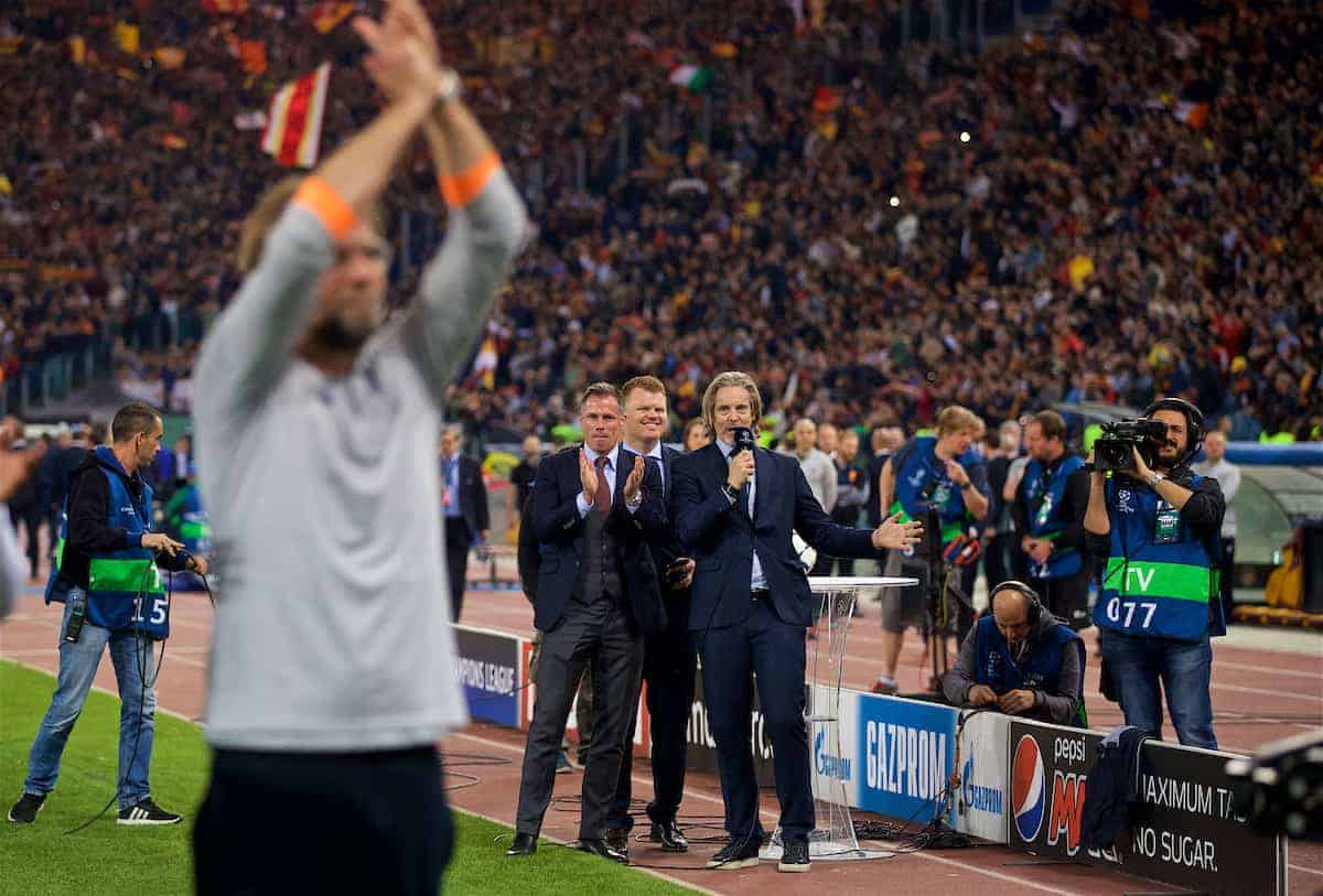 ROME, ITALY - Wednesday, May 2, 2018: Former Liverpool players Jamie Carragher and Jon Arne Risse watch as Jürgen Klopp celebrates after the 7-6 aggregate victory over AS Roma during the UEFA Champions League Semi-Final 2nd Leg match between AS Roma and Liverpool FC at the Stadio Olimpico. (Pic by David Rawcliffe/Propaganda)