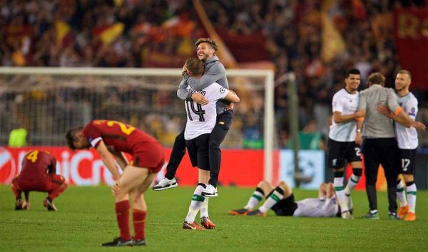 ROME, ITALY - Wednesday, May 2, 2018: Liverpool's Adam Lallana (right) and captain Jordan Henderson (#14) celebrate after the 7-6 aggregate victory over AS Roma during the UEFA Champions League Semi-Final 2nd Leg match between AS Roma and Liverpool FC at the Stadio Olimpico. (Pic by David Rawcliffe/Propaganda)