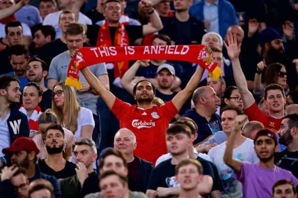 """ROME, ITALY - Wednesday, May 2, 2018: A Liverpool supporter with a """"This is Anfield"""" scarf before the UEFA Champions League Semi-Final 2nd Leg match between AS Roma and Liverpool FC at the Stadio Olimpico. (Pic by David Rawcliffe/Propaganda)"""