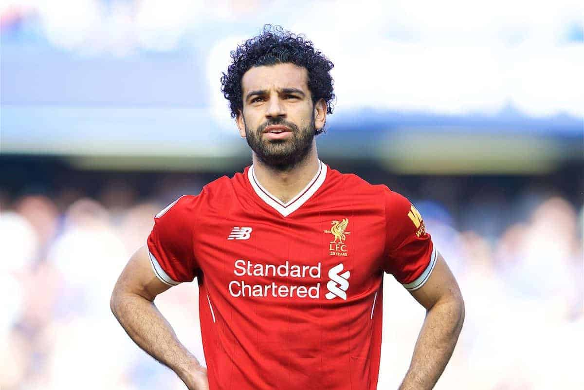 LONDON, ENGLAND - Sunday, May 6, 2018: Liverpool's Mohamed Salah before the FA Premier League match between Chelsea FC and Liverpool FC at Stamford Bridge. (Pic by David Rawcliffe/Propaganda)