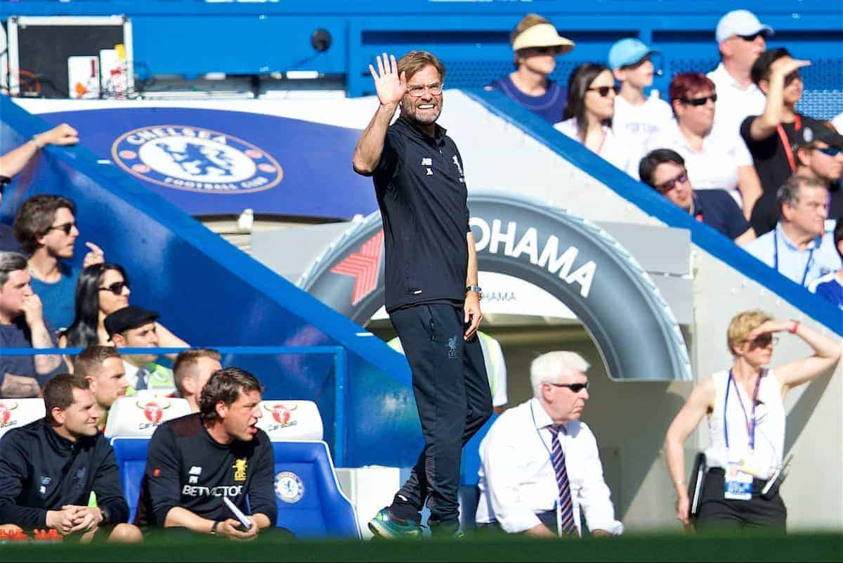 LONDON, ENGLAND - Sunday, May 6, 2018: Five times... Liverpool's manager Jürgen Klopp reacts during the FA Premier League match between Chelsea FC and Liverpool FC at Stamford Bridge. (Pic by David Rawcliffe/Propaganda)