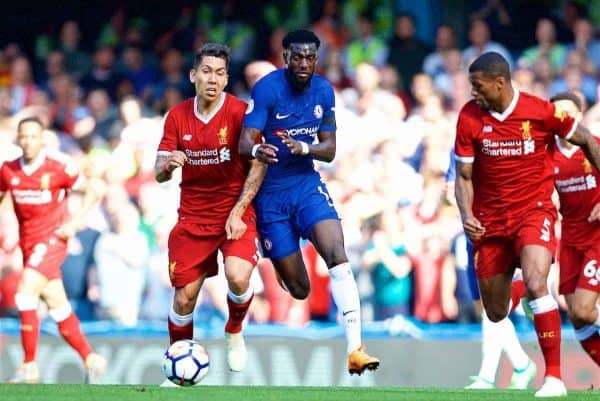 LONDON, ENGLAND - Sunday, May 6, 2018: Liverpool's Roberto Firmino and Chelsea's Tiémoué Bakayoko during the FA Premier League match between Chelsea FC and Liverpool FC at Stamford Bridge. (Pic by David Rawcliffe/Propaganda)