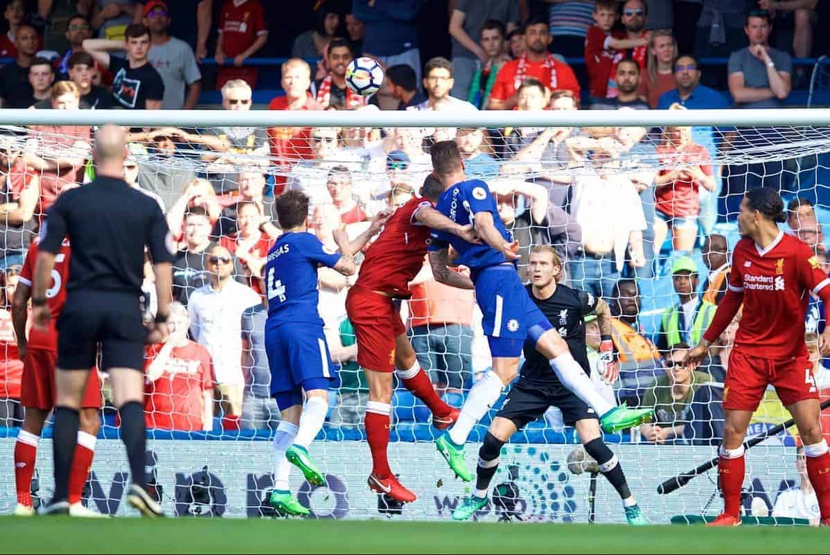 LONDON, ENGLAND - Sunday, May 6, 2018: Chelsea's Olivier Giroud scores the first goal during the FA Premier League match between Chelsea FC and Liverpool FC at Stamford Bridge. (Pic by David Rawcliffe/Propaganda)