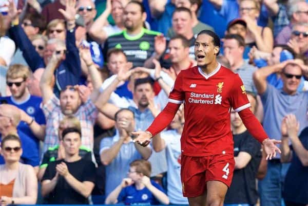 LONDON, ENGLAND - Sunday, May 6, 2018: Liverpool's Virgil van Dijk during the FA Premier League match between Chelsea FC and Liverpool FC at Stamford Bridge. (Pic by David Rawcliffe/Propaganda)