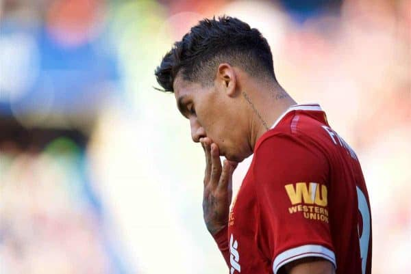 LONDON, ENGLAND - Sunday, May 6, 2018: Liverpool's Roberto Firmino looks dejected as his side lose 1-0 to Chelsea during the FA Premier League match between Chelsea FC and Liverpool FC at Stamford Bridge. (Pic by David Rawcliffe/Propaganda)