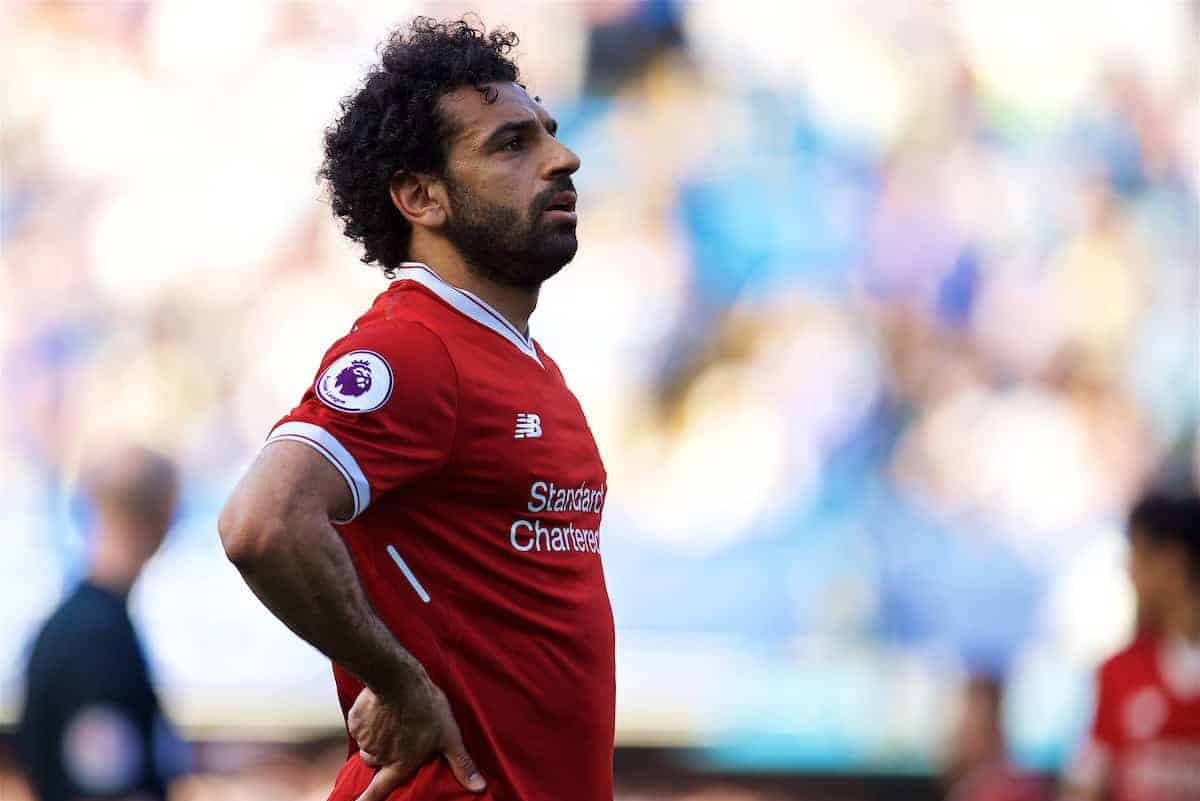 LONDON, ENGLAND - Sunday, May 6, 2018: Liverpool's Mohamed Salah looks dejected as his side lose 1-0 to Chelsea during the FA Premier League match between Chelsea FC and Liverpool FC at Stamford Bridge. (Pic by David Rawcliffe/Propaganda)