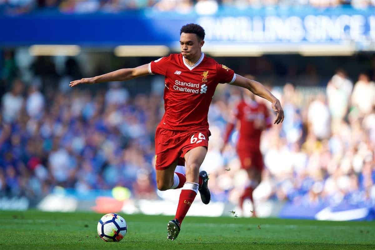 LONDON, ENGLAND - Sunday, May 6, 2018: Liverpool's Trent Alexander-Arnold during the FA Premier League match between Chelsea FC and Liverpool FC at Stamford Bridge. (Pic by David Rawcliffe/Propaganda)