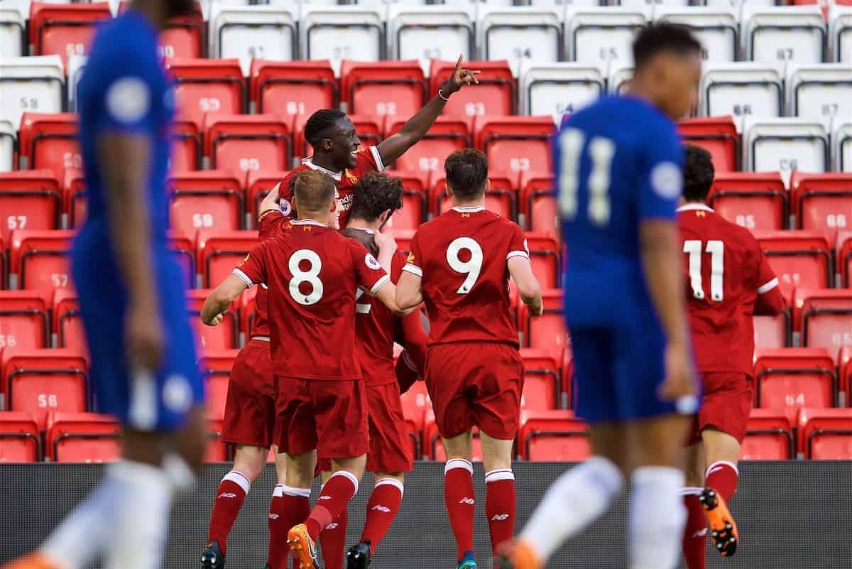 LIVERPOOL, ENGLAND - Tuesday, May 8, 2018: Liverpool's Bobby Adekanye celebrates scoring the second goal during the Under-23 FA Premier League 2 Division 1 match between Liverpool FC and Chelsea FC at Anfield. (Pic by David Rawcliffe/Propaganda)
