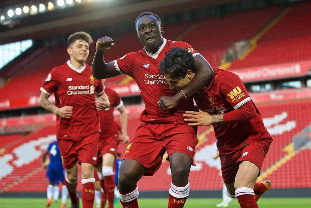 LIVERPOOL, ENGLAND - Tuesday, May 8, 2018: Liverpool's Yan Dhanda celebrates scoring the third goal, from a penalty kick, with team-mate Bobby Adekanye during the Under-23 FA Premier League 2 Division 1 match between Liverpool FC and Chelsea FC at Anfield. (Pic by David Rawcliffe/Propaganda)