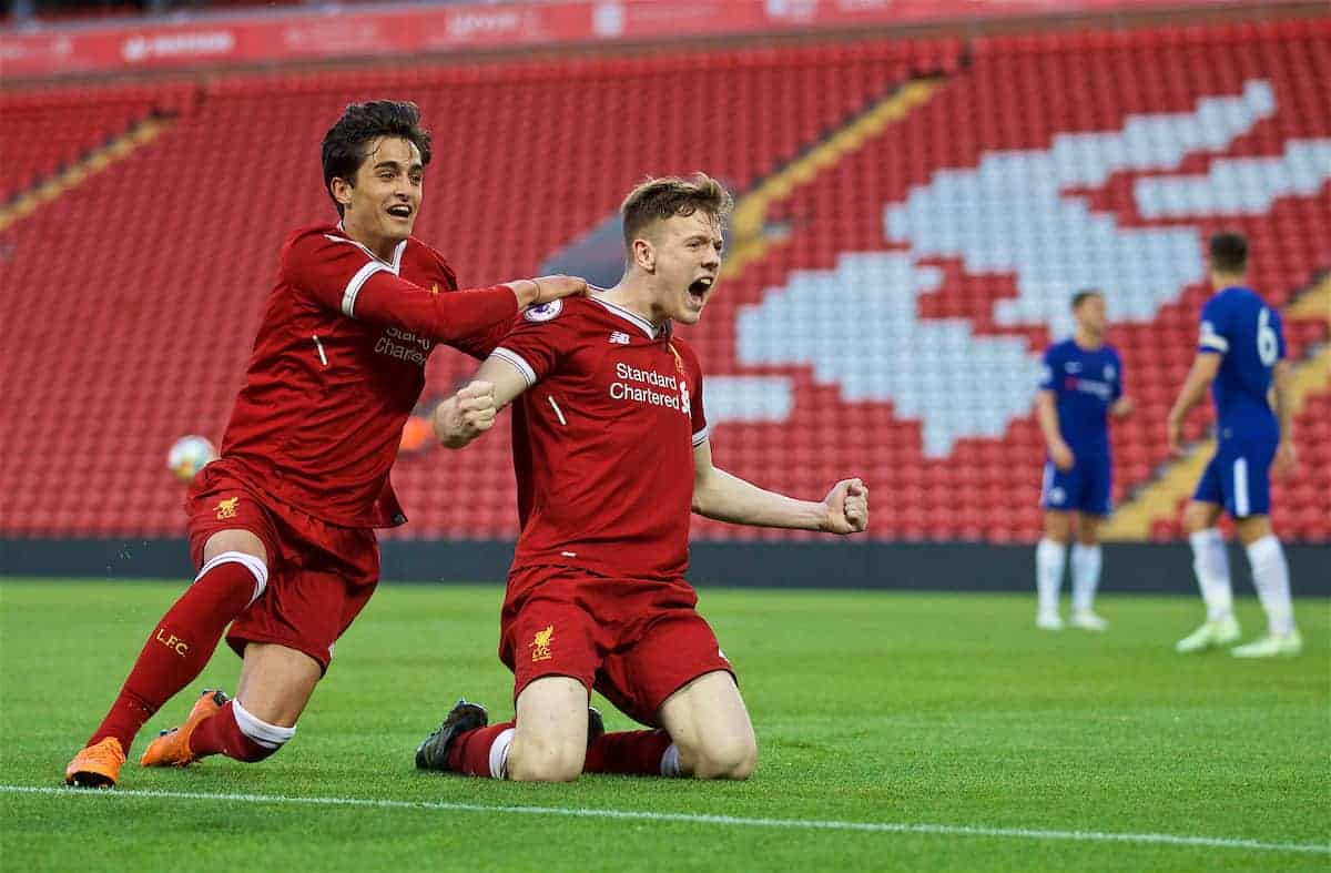 LIVERPOOL, ENGLAND - Tuesday, May 8, 2018: Liverpool's George Johnston (right) celebrates scoring the fourth goal with team-mate Yan Dhanda during the Under-23 FA Premier League 2 Division 1 match between Liverpool FC and Chelsea FC at Anfield. (Pic by David Rawcliffe/Propaganda)