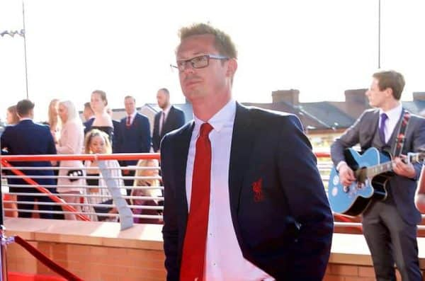 LIVERPOOL, ENGLAND - Thursday, May 10, 2018: Director of Football Michael Edwards arrives on the red carpet for the Liverpool FC Players' Awards 2018 at Anfield. (Pic by David Rawcliffe/Propaganda)
