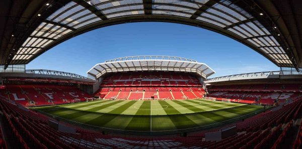 LIVERPOOL, ENGLAND - Sunday, May 13, 2018: A general view of Anfield and the club's recently rebuilt Main Stand pictured before the FA Premier League match between Liverpool FC and Brighton & Hove Albion FC at Anfield. (Pic by David Rawcliffe/Propaganda)