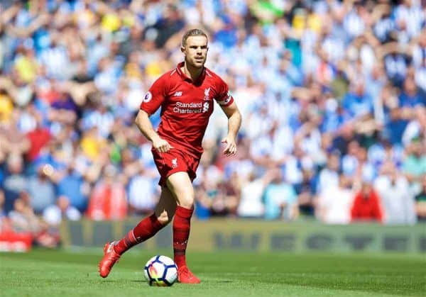 Liverpool's captain Jordan Henderson during the FA Premier League match between Liverpool FC and Brighton & Hove Albion FC at Anfield. (Pic by David Rawcliffe/Propaganda)