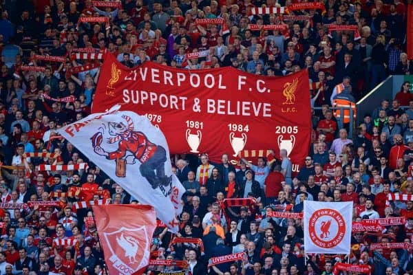 LIVERPOOL, ENGLAND - Sunday, May 13, 2018: Liverpool supporter on the Spion Kop during the FA Premier League match between Liverpool FC and Brighton & Hove Albion FC at Anfield. (Pic by David Rawcliffe/Propaganda)