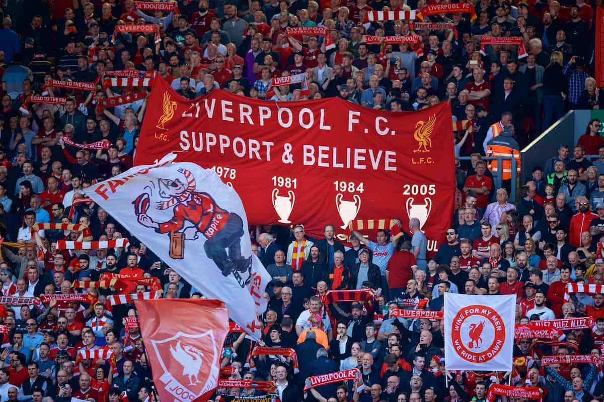 General Anfield matchday Flag Kop supporters (Pic by David Rawcliffe/Propaganda)