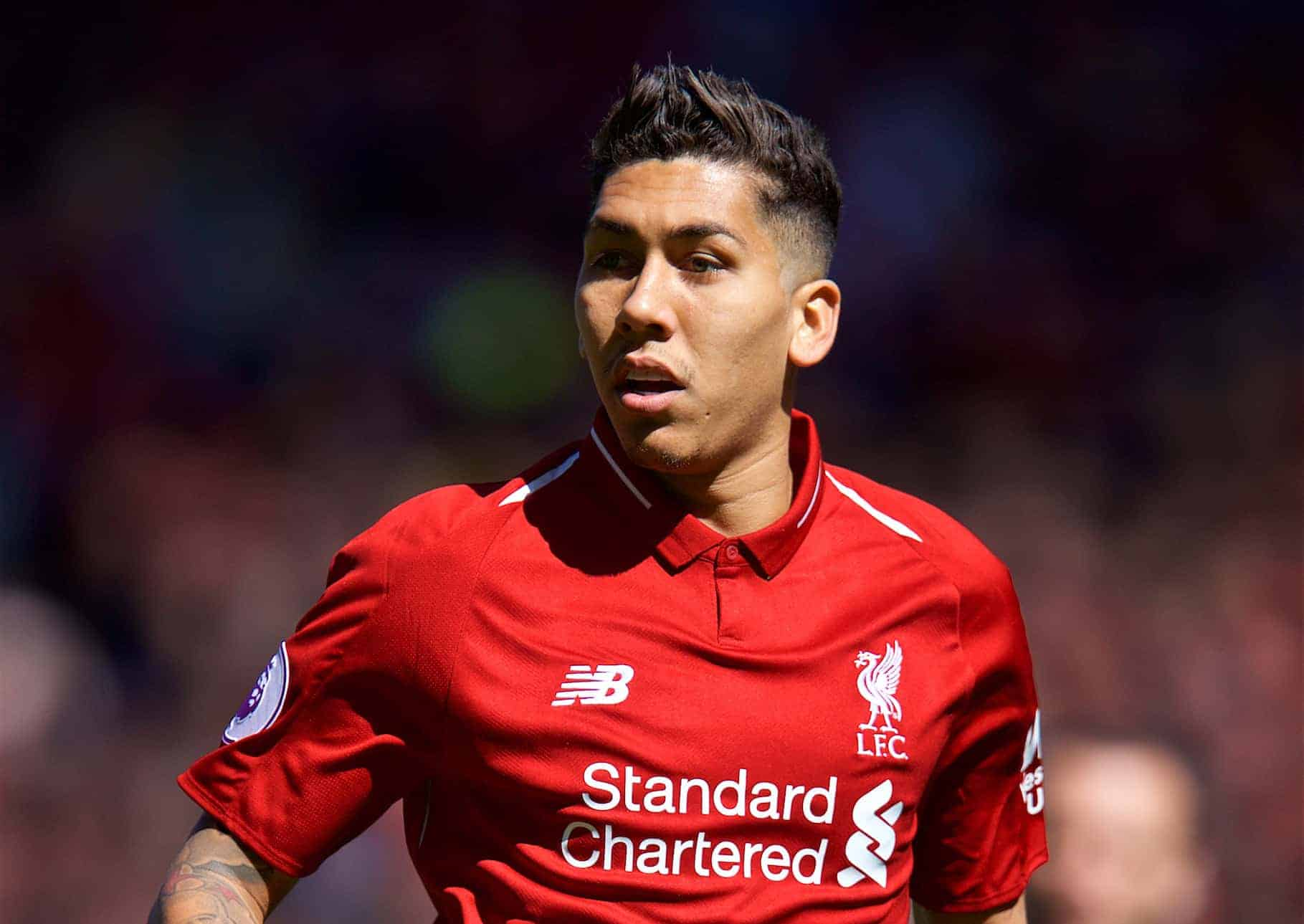 LIVERPOOL, ENGLAND - Sunday, May 13, 2018: Liverpool's Roberto Firmino during the FA Premier League match between Liverpool FC and Brighton & Hove Albion FC at Anfield. (Pic by David Rawcliffe/Propaganda)