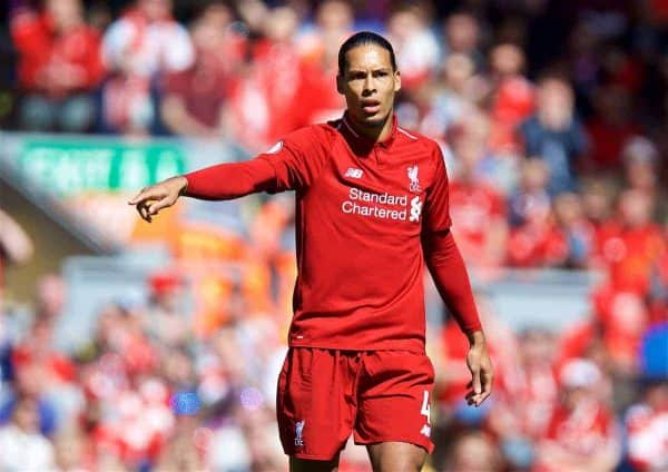 LIVERPOOL, ENGLAND - Sunday, May 13, 2018: Liverpool's Virgil van Dijk during the FA Premier League match between Liverpool FC and Brighton & Hove Albion FC at Anfield. (Pic by David Rawcliffe/Propaganda)