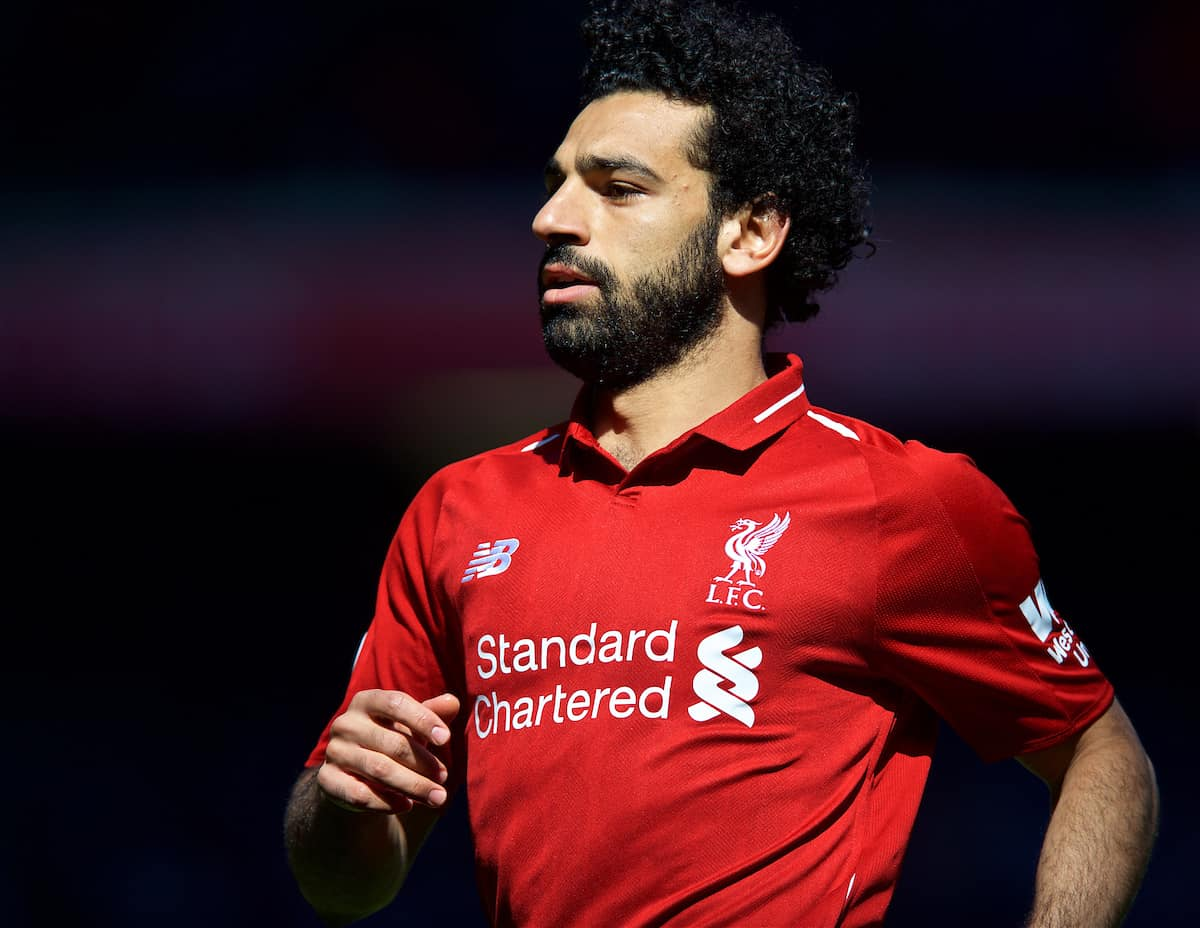 LIVERPOOL, ENGLAND - Sunday, May 13, 2018: Liverpool's Mohamed Salah during the FA Premier League match between Liverpool FC and Brighton & Hove Albion FC at Anfield. (Pic by David Rawcliffe/Propaganda)