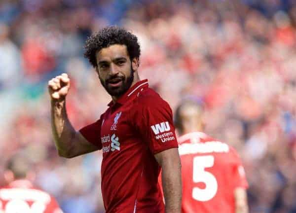 LIVERPOOL, ENGLAND - Sunday, May 13, 2018: Liverpool's Mohamed Salah celebrates scoring the first goal during the FA Premier League match between Liverpool FC and Brighton & Hove Albion FC at Anfield. (Pic by David Rawcliffe/Propaganda)