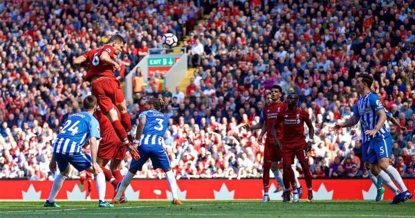 LIVERPOOL, ENGLAND - Sunday, May 13, 2018: Liverpool's Dejan Lovren scores the second goal during the FA Premier League match between Liverpool FC and Brighton & Hove Albion FC at Anfield. (Pic by David Rawcliffe/Propaganda)
