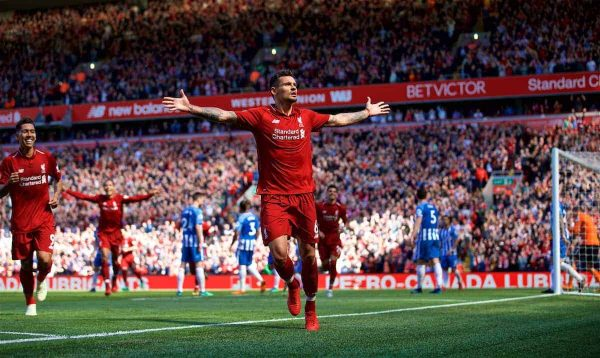 LIVERPOOL, ENGLAND - Sunday, May 13, 2018: Liverpool's Dejan Lovren celebrates scoring the second goal during the FA Premier League match between Liverpool FC and Brighton & Hove Albion FC at Anfield. (Pic by David Rawcliffe/Propaganda)