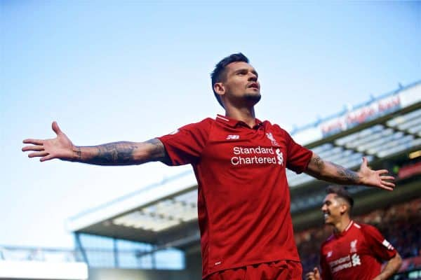Liverpool's Dejan Lovren celebrates scoring the second goal during the FA Premier League match between Liverpool FC and Brighton & Hove Albion FC at Anfield
