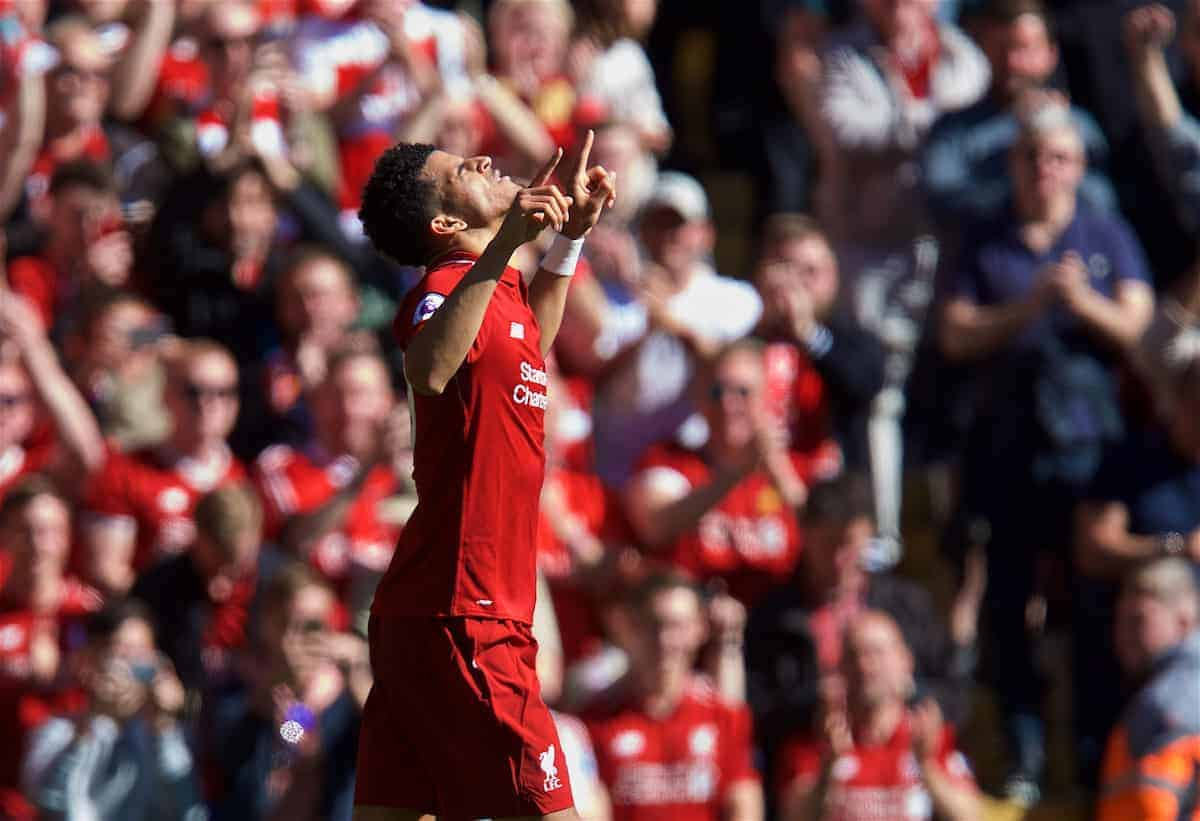 LIVERPOOL, ENGLAND - Sunday, May 13, 2018: Liverpool's Dominic Solanke celebrates scoring the third goal, his first for the club, during the FA Premier League match between Liverpool FC and Brighton & Hove Albion FC at Anfield. (Pic by David Rawcliffe/Propaganda)