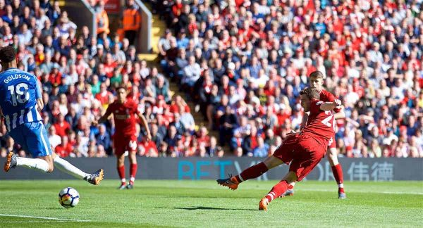 LIVERPOOL, ENGLAND - Sunday, May 13, 2018: Liverpool's Andy Robertson scores the fourth goal, his first for the club, during the FA Premier League match between Liverpool FC and Brighton & Hove Albion FC at Anfield. (Pic by David Rawcliffe/Propaganda)