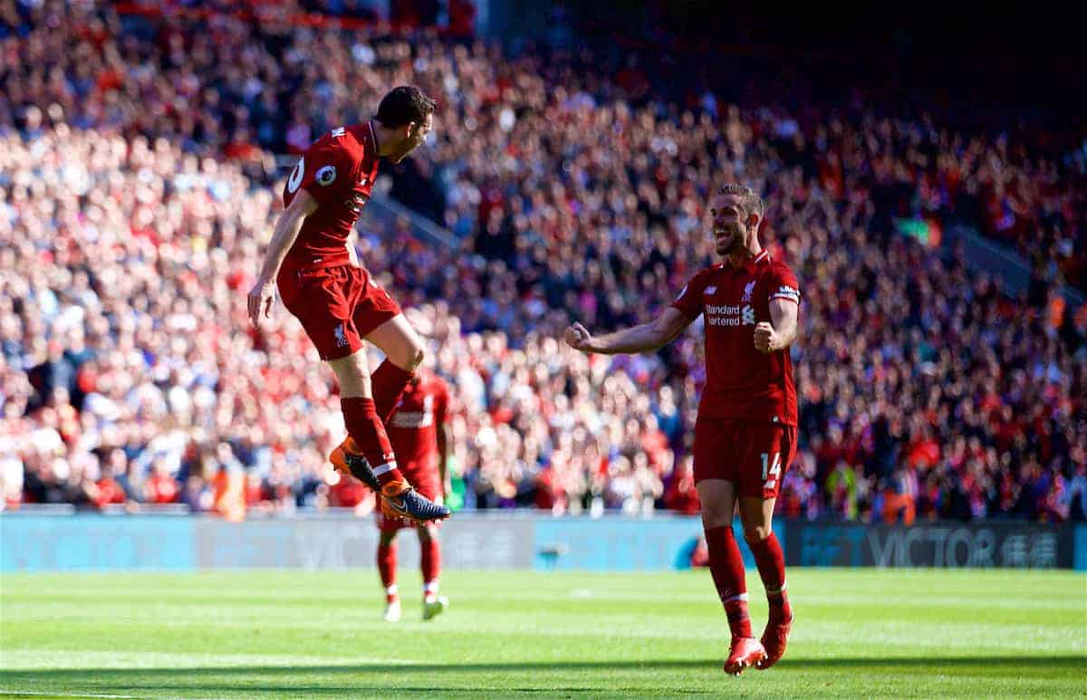 LIVERPOOL, ENGLAND - Sunday, May 13, 2018: Liverpool's Andy Robertson celebrates scoring the fourth goal, his first for the club, during the FA Premier League match between Liverpool FC and Brighton & Hove Albion FC at Anfield. (Pic by David Rawcliffe/Propaganda)