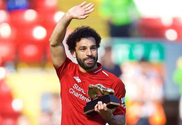 LIVERPOOL, ENGLAND - Sunday, May 13, 2018: Liverpool's Mohamed Salah waves to the supporters after receiving the Golden Boot trophy for finishing the season as the leading League goal-scorer during the FA Premier League match between Liverpool FC and Brighton & Hove Albion FC at Anfield. (Pic by David Rawcliffe/Propaganda)
