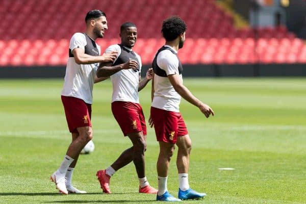 LIVERPOOL, ENGLAND - Monday, May 21, 2018: Liverpool's Emre Can, Georginio Wijnaldum and Mohamed Salah during a training session at Anfield ahead of the UEFA Champions League Final match between Real Madrid CF and Liverpool FC. (Pic by Paul Greenwood/Propaganda)