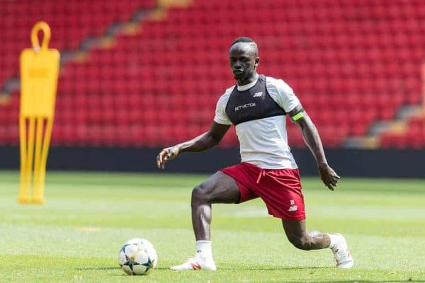 LIVERPOOL, ENGLAND - Monday, May 21, 2018: Liverpool's Sadio Mane during a training session at Anfield ahead of the UEFA Champions League Final match between Real Madrid CF and Liverpool FC. (Pic by Paul Greenwood/Propaganda)