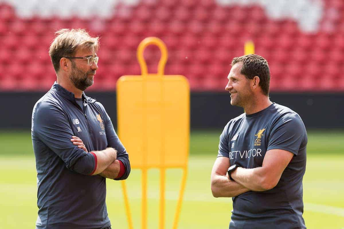 LIVERPOOL, ENGLAND - Monday, May 21, 2018: Liverpool's manager Jürgen Klopp and goalkeeping coach John Achterberg during a training session at Anfield ahead of the UEFA Champions League Final match between Real Madrid CF and Liverpool FC. (Pic by Paul Greenwood/Propaganda)
