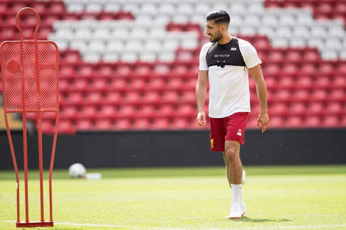 LIVERPOOL, ENGLAND - Monday, May 21, 2018: Liverpool's Emre Can during a training session at Anfield ahead of the UEFA Champions League Final match between Real Madrid CF and Liverpool FC. (Pic by Paul Greenwood/Propaganda)