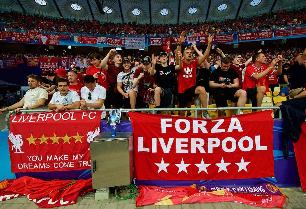 KIEV, UKRAINE - Saturday, May 26, 2018: Liverpool supporters during the UEFA Champions League Final match between Real Madrid CF and Liverpool FC at the NSC Olimpiyskiy. (Pic by Peter Powell/Propaganda)