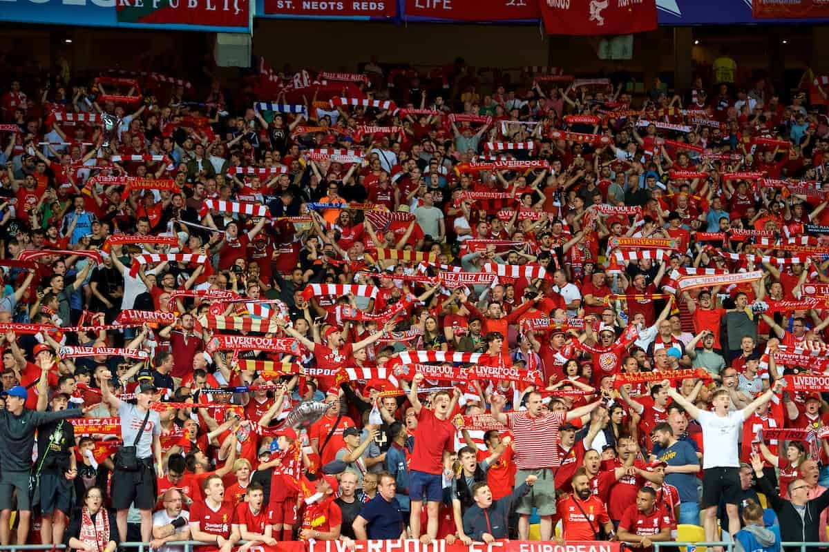 KIEV, UKRAINE - Saturday, May 26, 2018: A sea of red... Liverpool supporters during the UEFA Champions League Final match between Real Madrid CF and Liverpool FC at the NSC Olimpiyskiy. (Pic by Peter Powell/Propaganda)