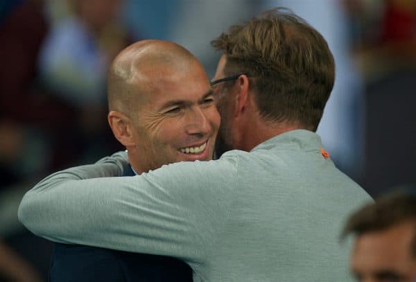 KIEV, UKRAINE - Saturday, May 26, 2018: Liverpool's manager Jürgen Klopp embraces Real Madrid's head coach Zinédine Zidane before the UEFA Champions League Final match between Real Madrid CF and Liverpool FC at the NSC Olimpiyskiy. (Pic by Peter Powell/Propaganda)